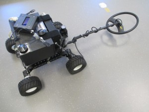 Explorer robot with metal detector.